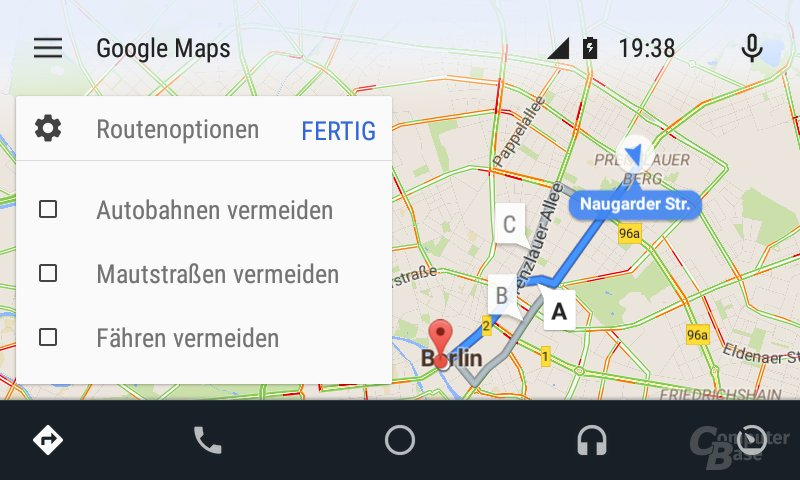 Android Auto: Routenoptionen