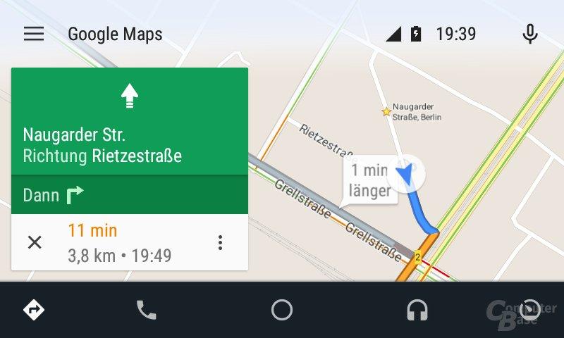 Android Auto: Vorschau der Route