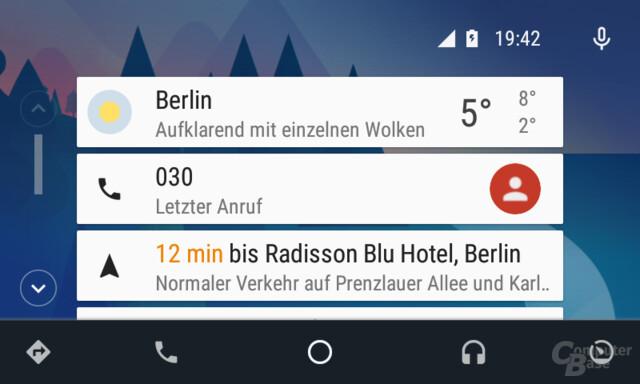 Android Auto: Vorschlag für Navigation auf dem Homescreen