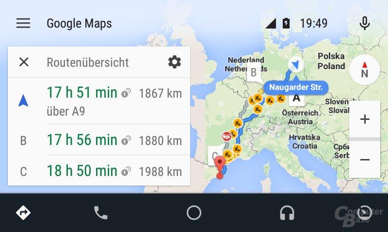 Android Auto: Beispiel für Navigation nach Barcelona