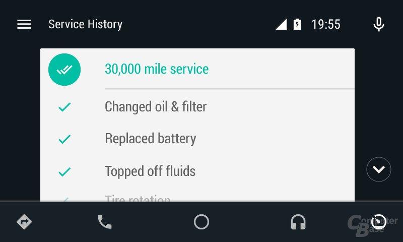 Android Auto: Wartung des Fahrzeugs