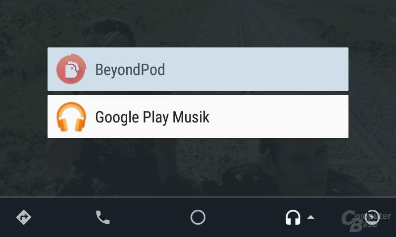 Android Auto: Auswahlmenü für Medien-Apps