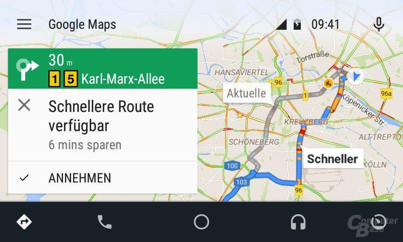 Android Auto: Schnellere Route während der Fahrt automatisch vorgeschlagen