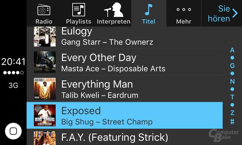 CarPlay: Musik nach Titeln sortiert