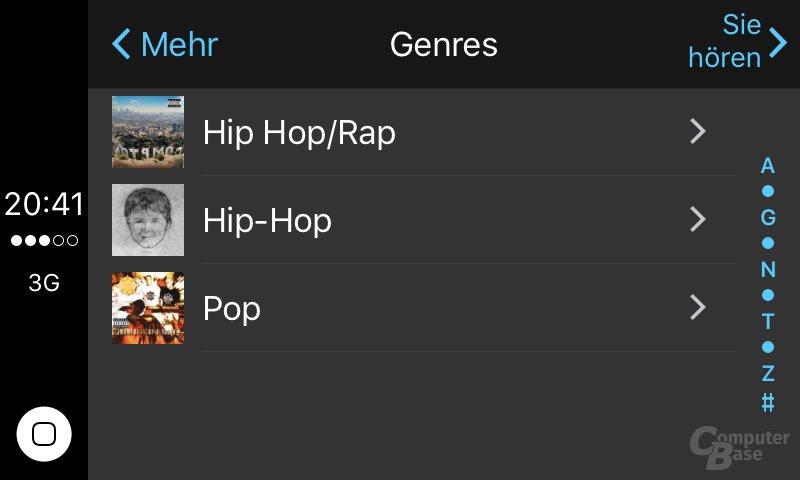 CarPlay: Detailansicht für Genres