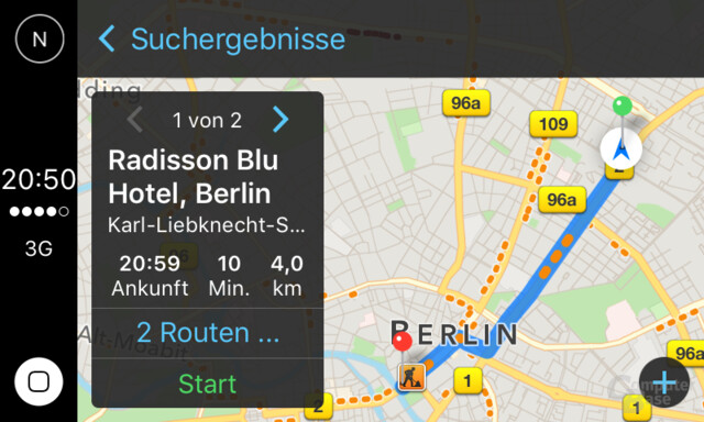 CarPlay: Ansicht vor dem Start der Navigation
