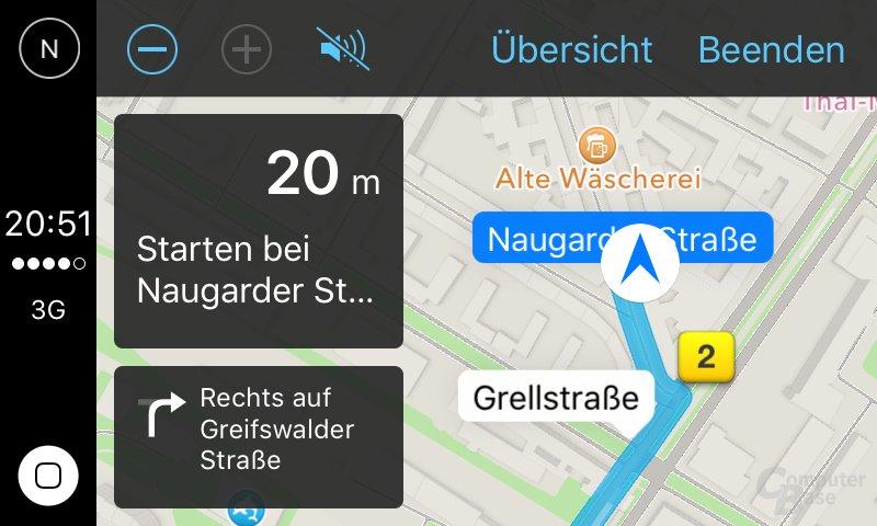 CarPlay: Vorschau der Navigation