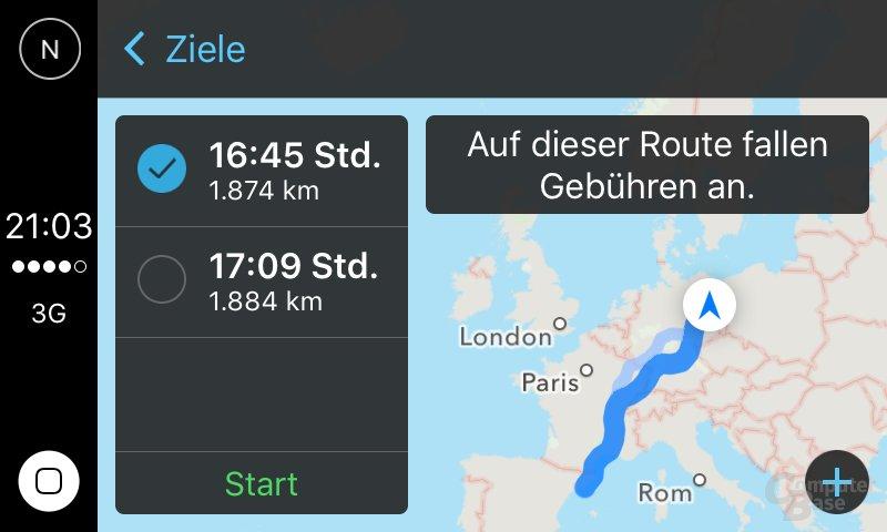 CarPlay: Beispiel für Navigation nach Barcelona