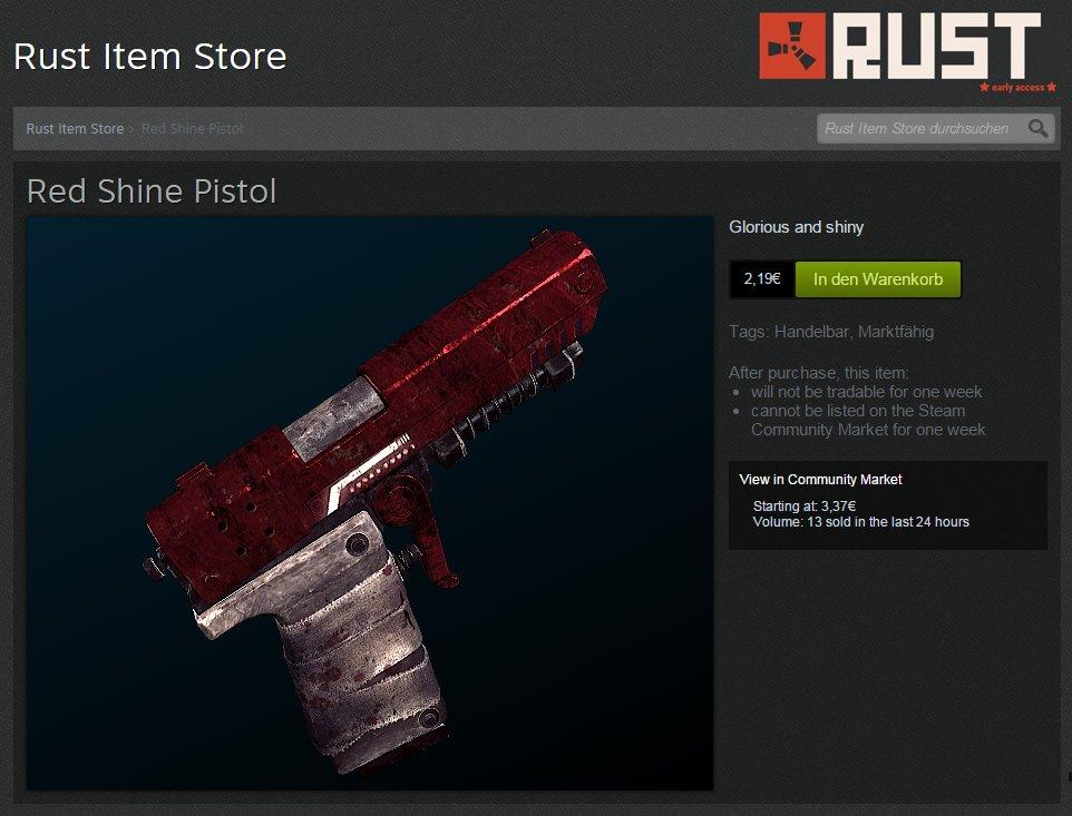 Rust Item Store auf Steam