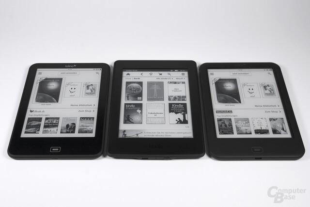 Vision 3 HD und Shine 2 HD im Größenvergleich zum Kindle Paperwhite