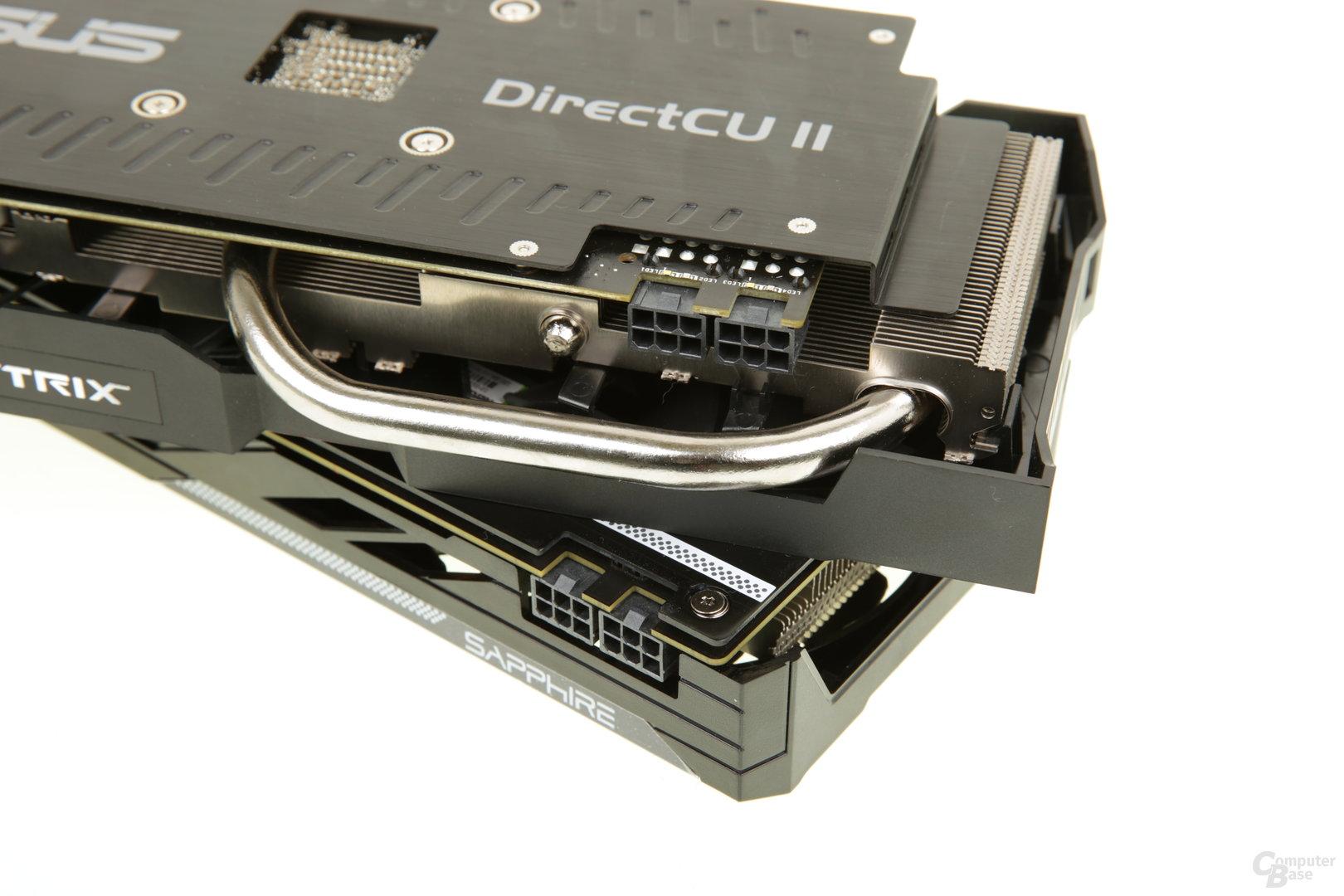Beide Grafikkarten setzen auf zwei 6-Pin-PCIe-Stecker