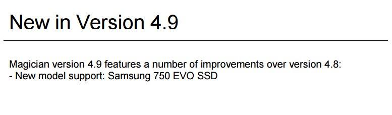 Samsung SSD 750 Evo wird von Magician 4.9 unterstützt
