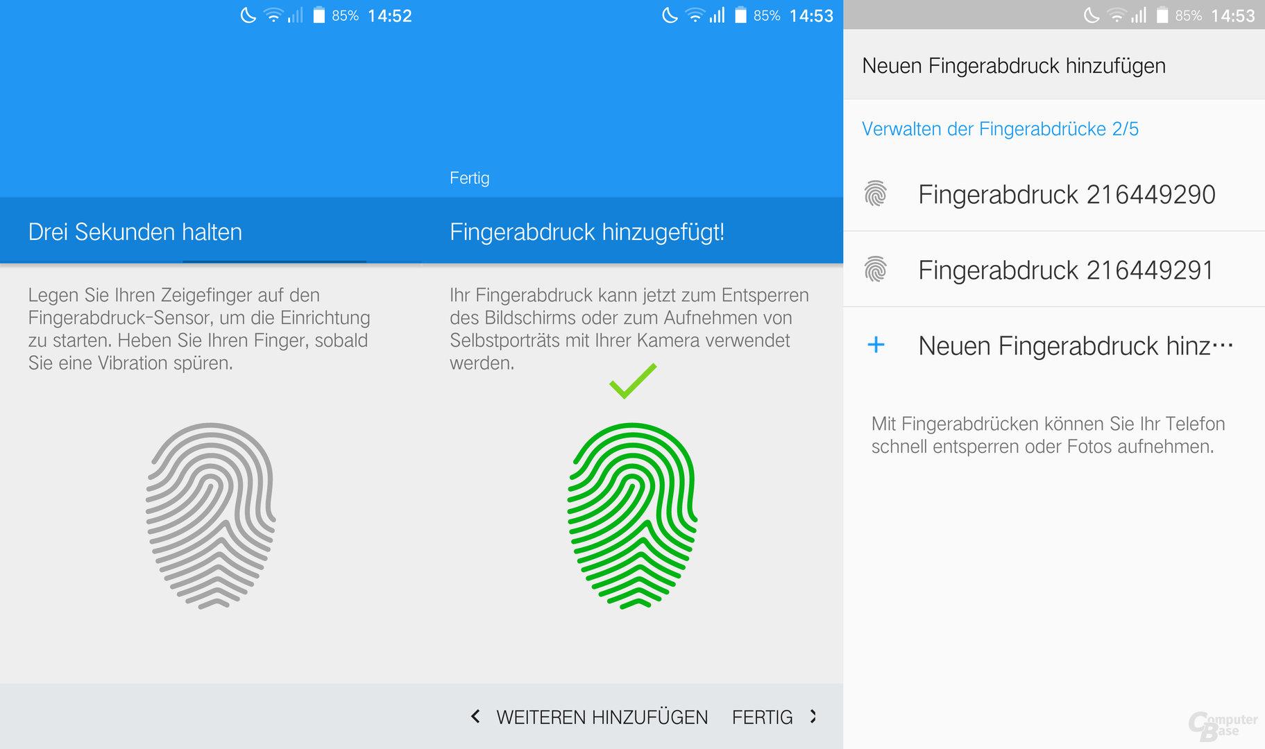 Fingerabdrucksensor einrichten