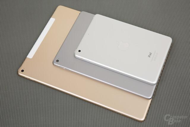 Von unten nach oben: iPad Pro, iPad Air 2 und iPad mini 2