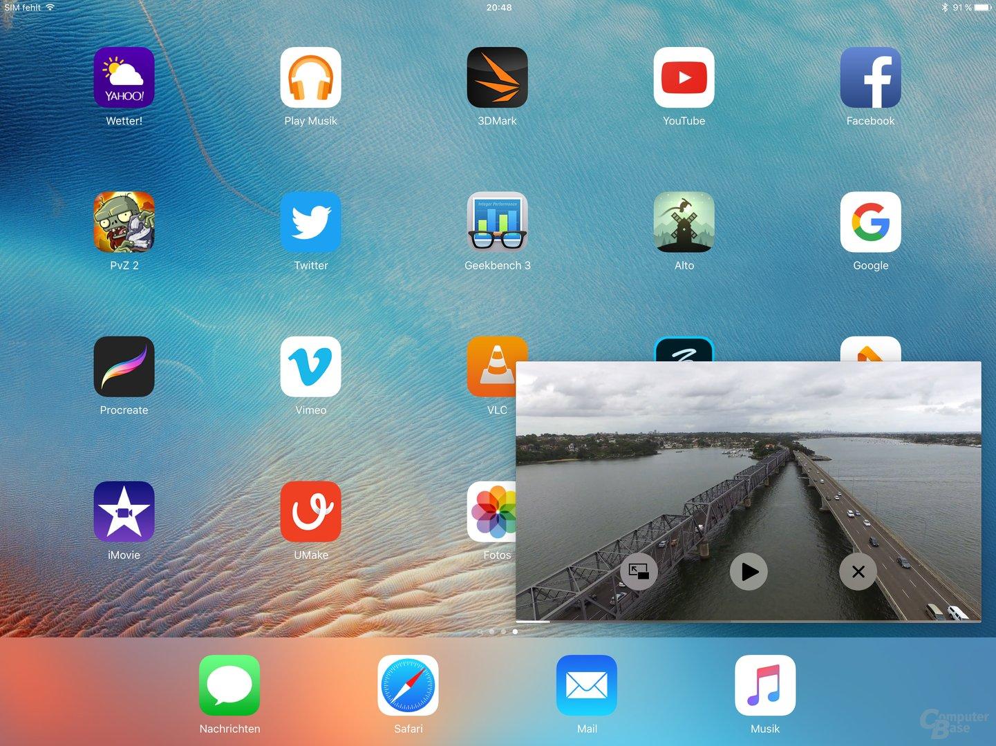 Bild im Bild aus iOS 9 auf dem iPad Pro