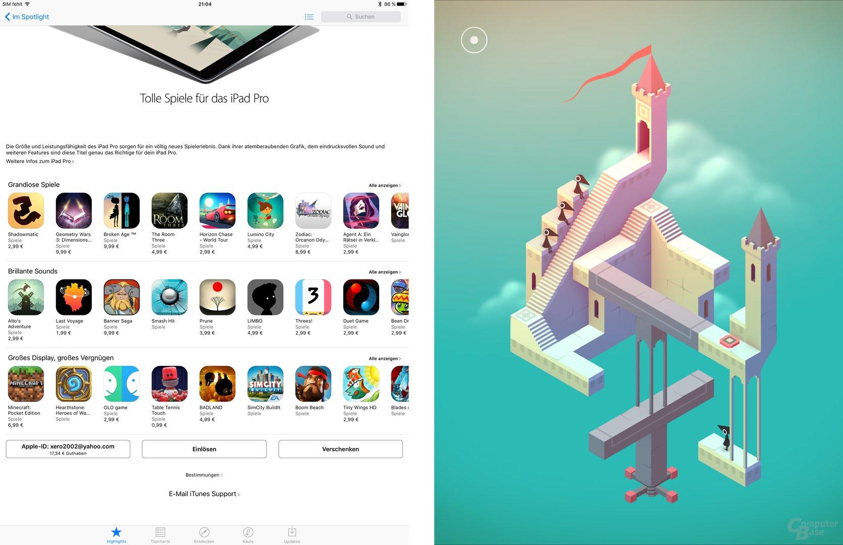 Spiele machen auf dem iPad Pro wortwörtlich Riesenspaß
