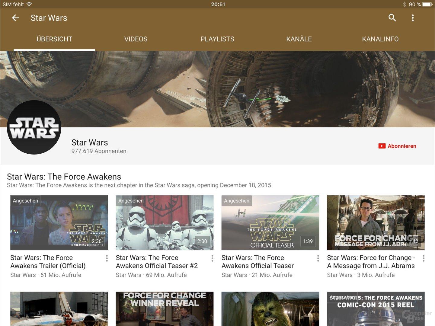 YouTube ist noch nicht für das iPad Pro optimiert worden