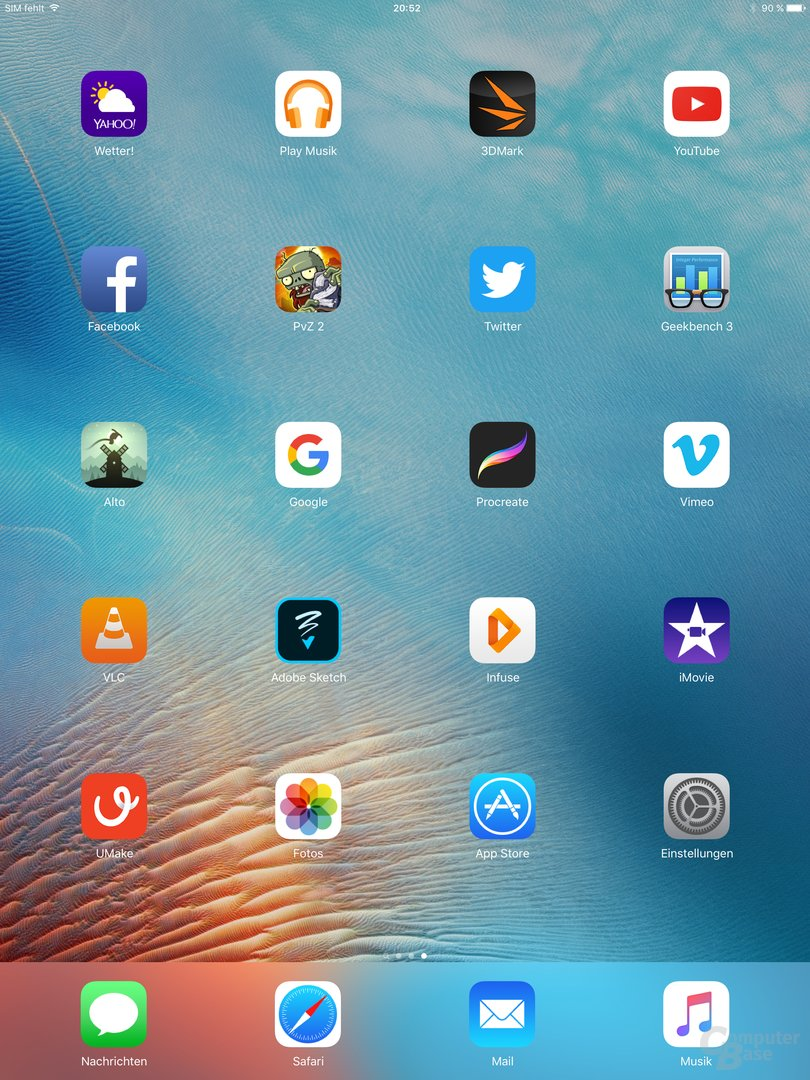 Homescreen im Hochformat auf dem iPad Pro