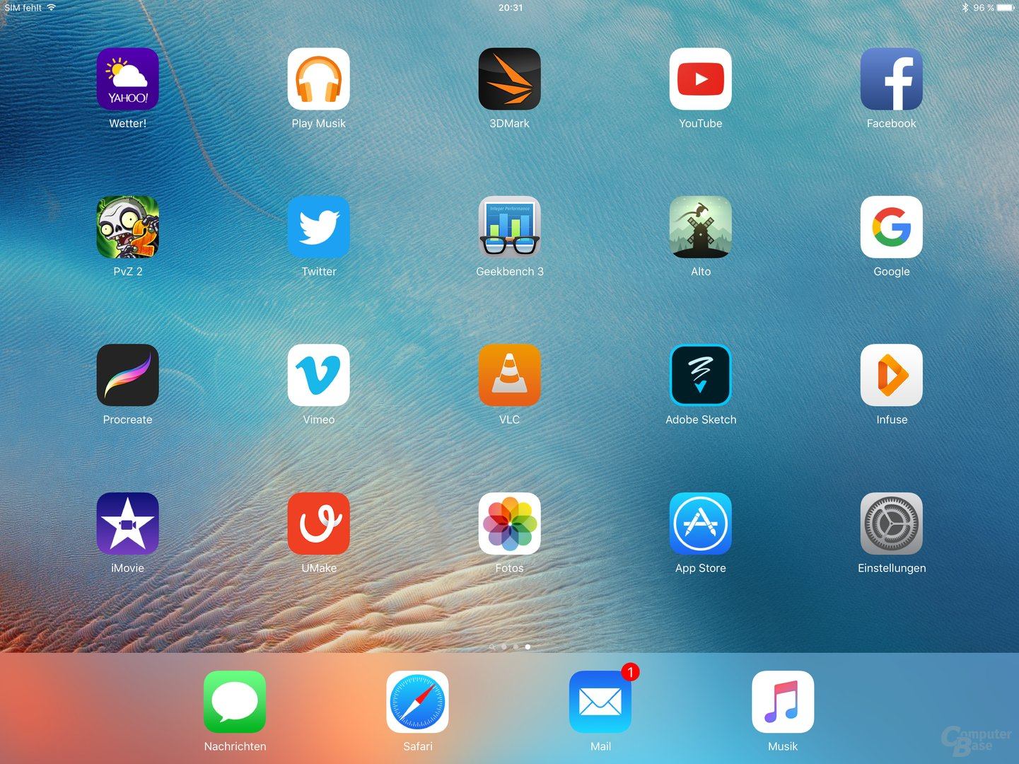 Homescreen des iPad Pro im Querformat