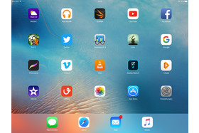 Homescreen des iPad Pro im Querformat