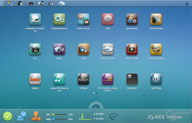 ZyXEL NAS520 – Benutzeroberfläche