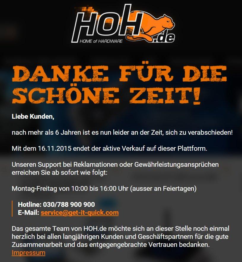 Mitteilung statt Shop auf hoh.de