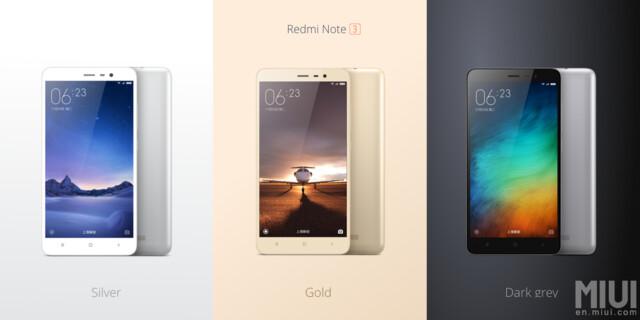 Das neue Redmi Note 3 in drei Farben
