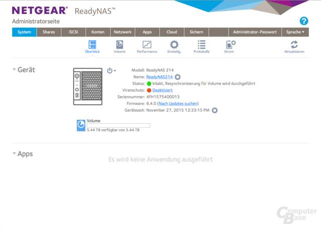 Netgear ReadyNAS 214 – Systemüberblick