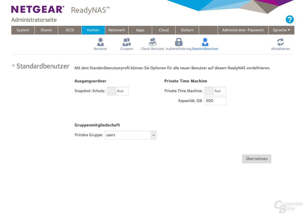 Netgear ReadyNAS 214 – Benutzerkonten