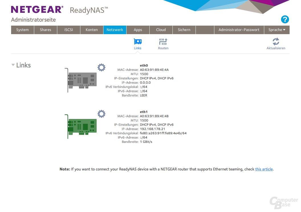 Netgear ReadyNAS 214 – Netzwerk