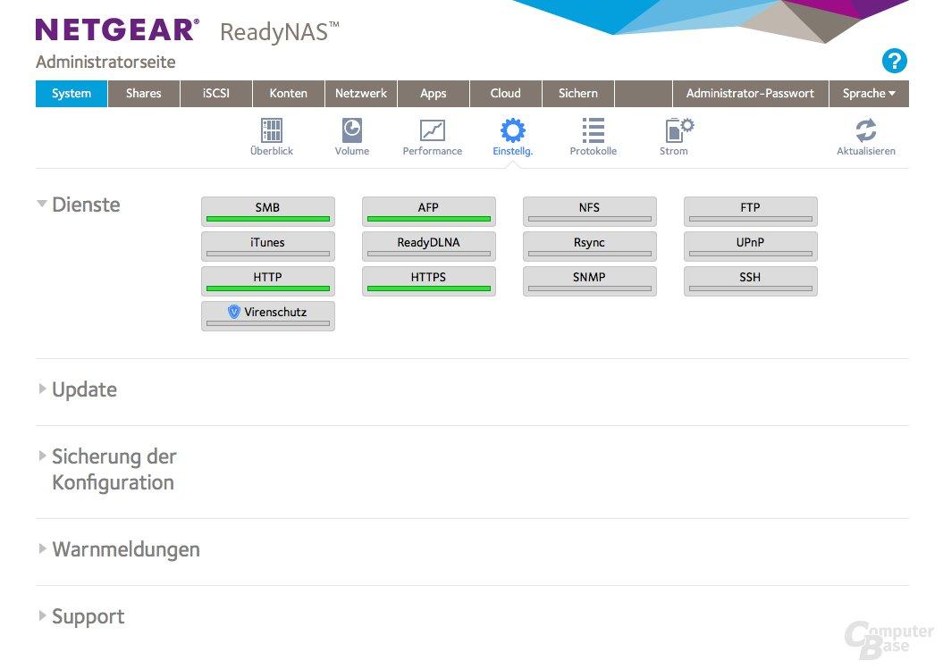 Netgear ReadyNAS 214 – Dienste, Updates und Sicherung