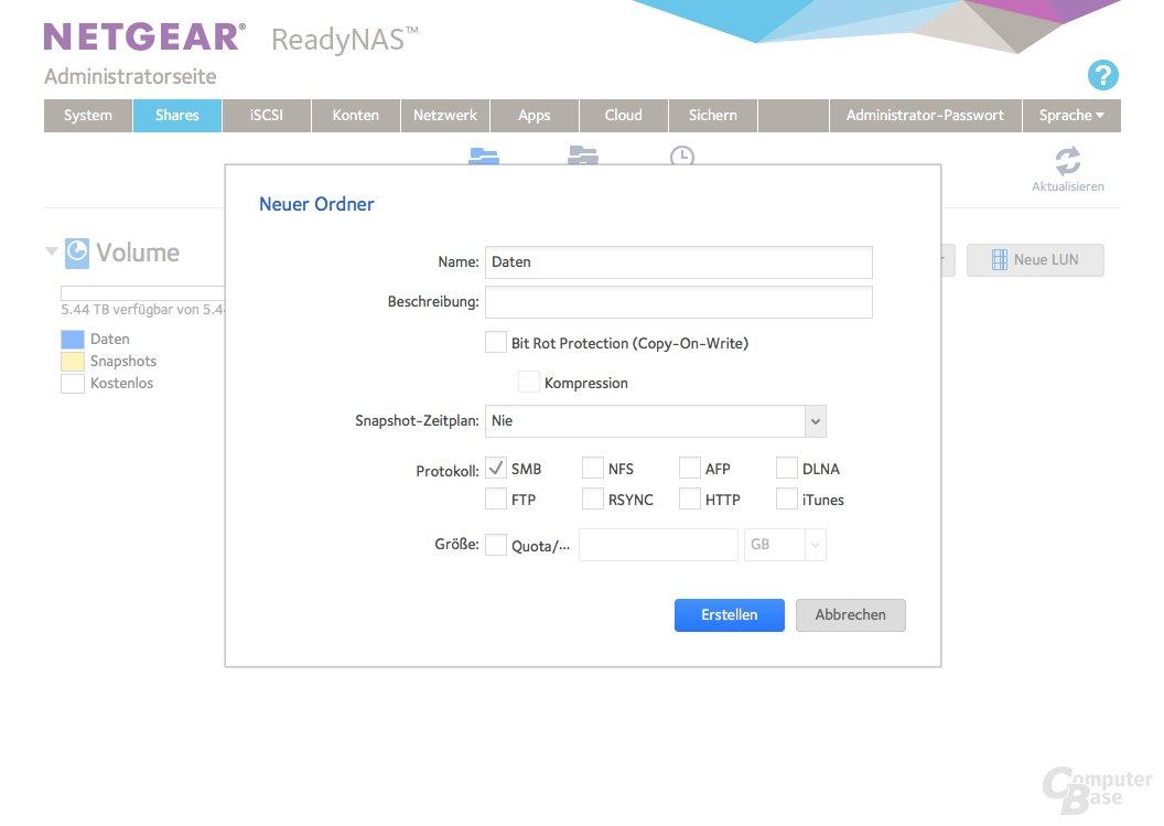 Netgear ReadyNAS 214 – Neues Share erstellen