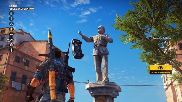 Spaß mit Statuen: Der neue Enterhaken lädt zum Ausprobieren ein