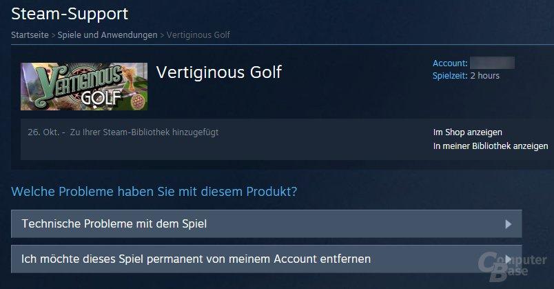 Unter Steam Support das Spiel suchen