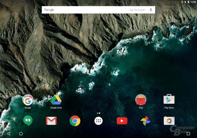 Navigationsleiste auf dem Pixel C