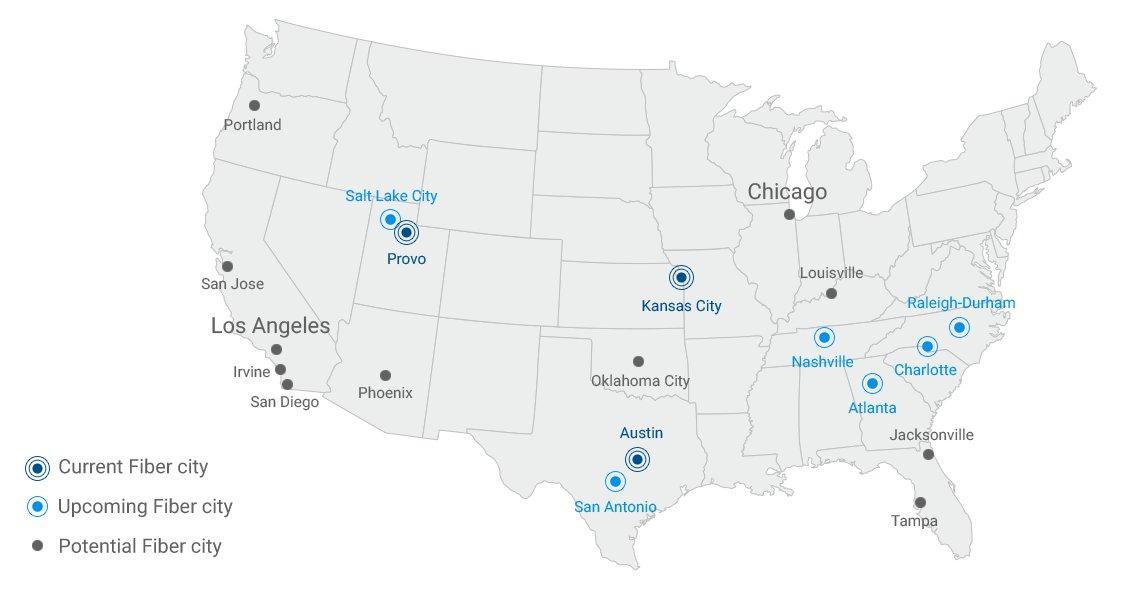 Aktuelle und potenzielle Standorte für Google Fiber (Dezember 2015)