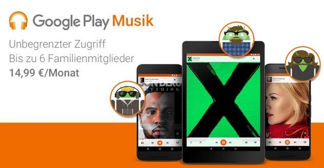 Mit Family Plan erhalten bis zu sechs Personen über einen Account Zugang zu Play Music