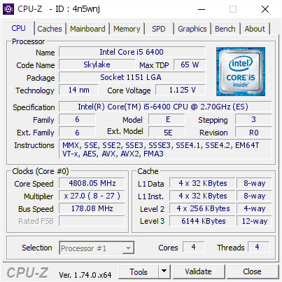 Intel Core i5-6400 bei 4,8 GHz
