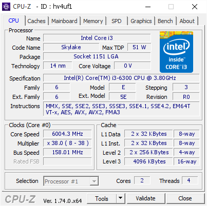 Intel Core i3-6300 bei 6,0 GHz