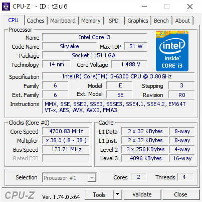 Intel Core i3-6300 bei 4,7 GHz
