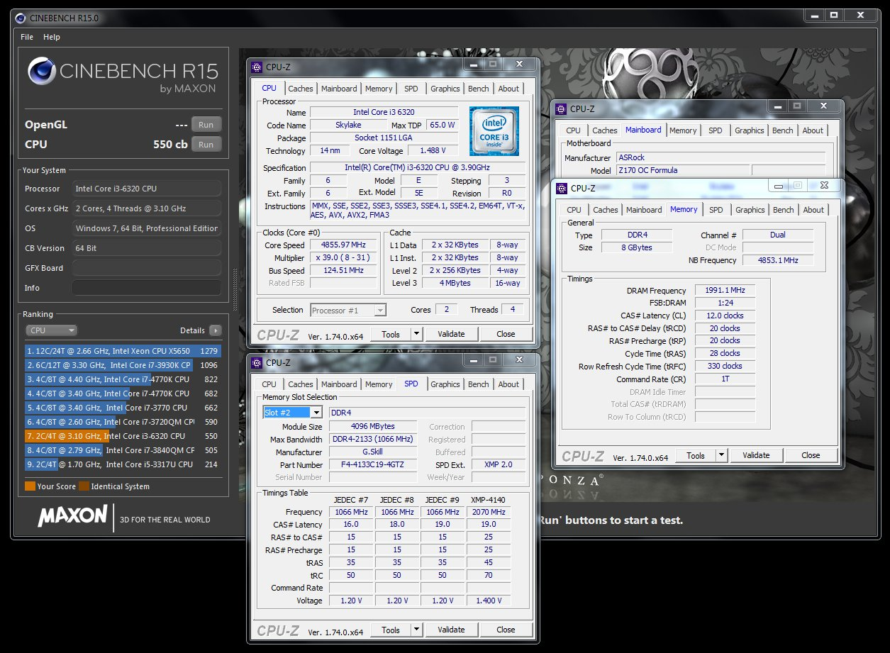 Intel Core i3-6320 mit 4,85 GHz in Cinebench R15