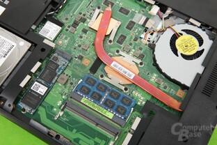 GPU und CPU werden über dieselbe Heatpipe gekühlt