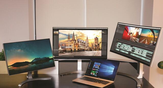 LG-Monitore 24MP88, 27UD88, 34UC98 (v.l.n.r.)