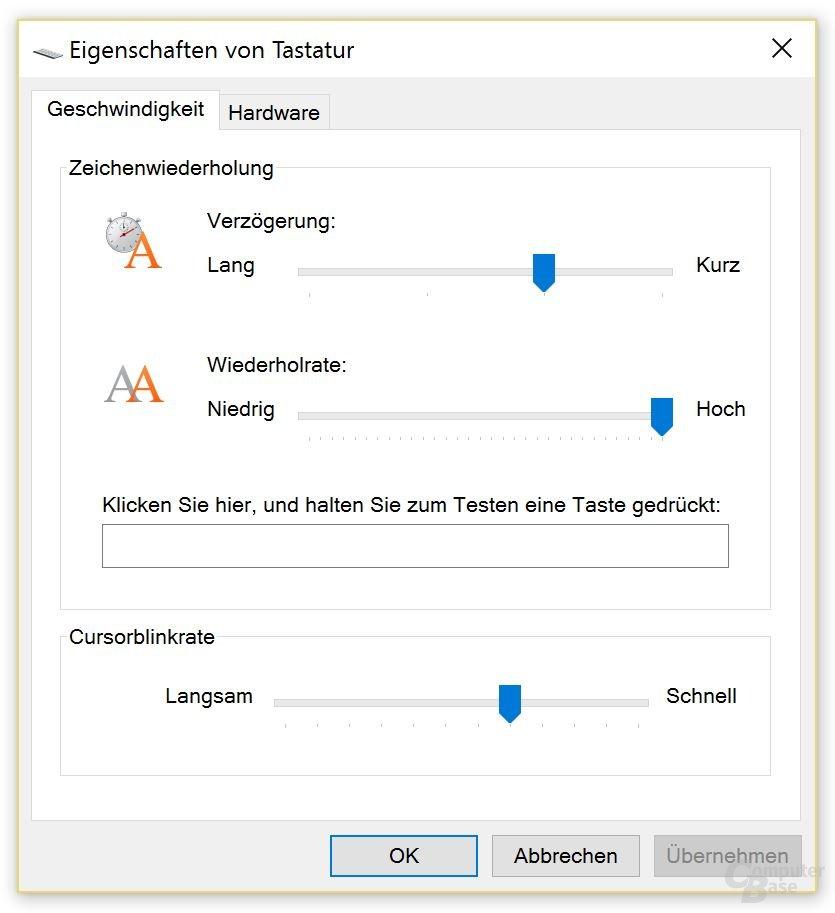 Repeat- und Delay-Rate lassen unter Windows immer konfigurieren
