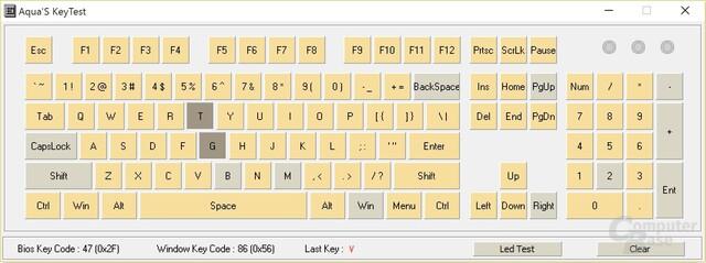 """2-Key-Rollover: Wird """"TG"""" gedrückt, ignoriert die Tastatur das Signal für """"B"""" (Perixx PX-1800)"""