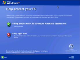 Windows XP SP2 erster Start - Automatic Updates aktivieren