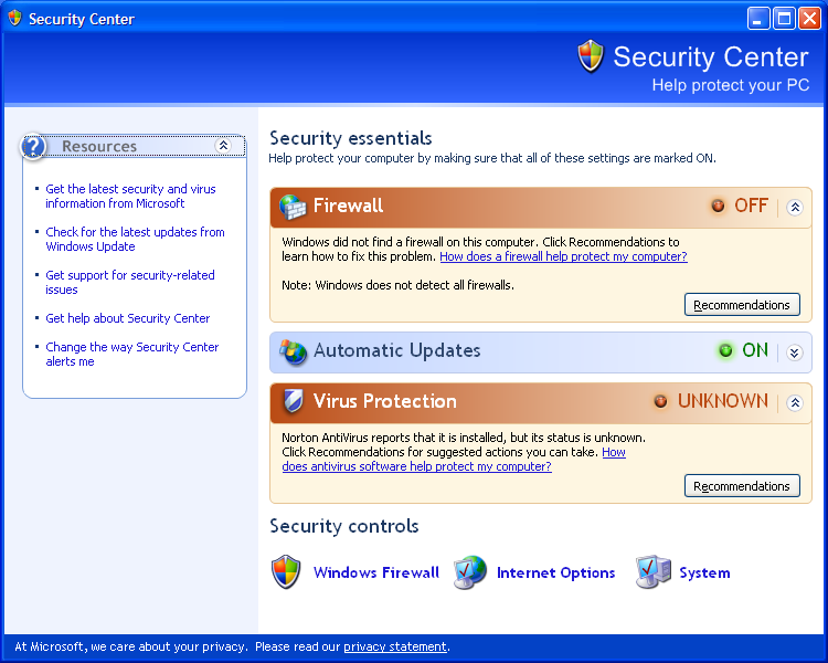 Windows XP SP2 Security Center