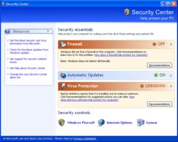 Windows XP SP2 Security Center
