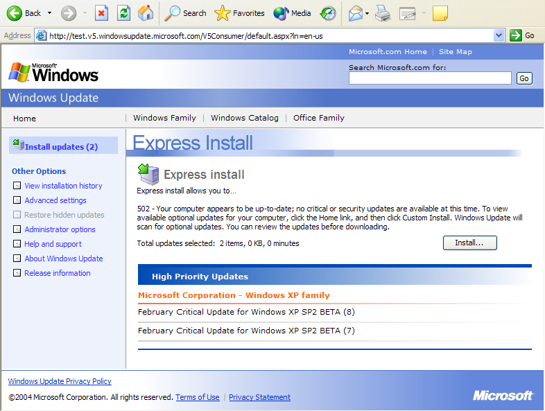 Windows XP SP2 Windows Update v5