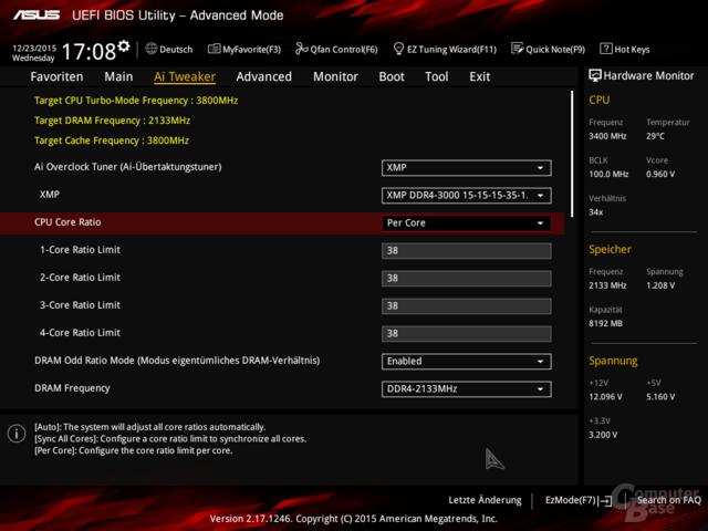 BIOS-Einstellungen des Asus E3 Pro Gaming V5 für Overclocking – nur XMP funktioniert